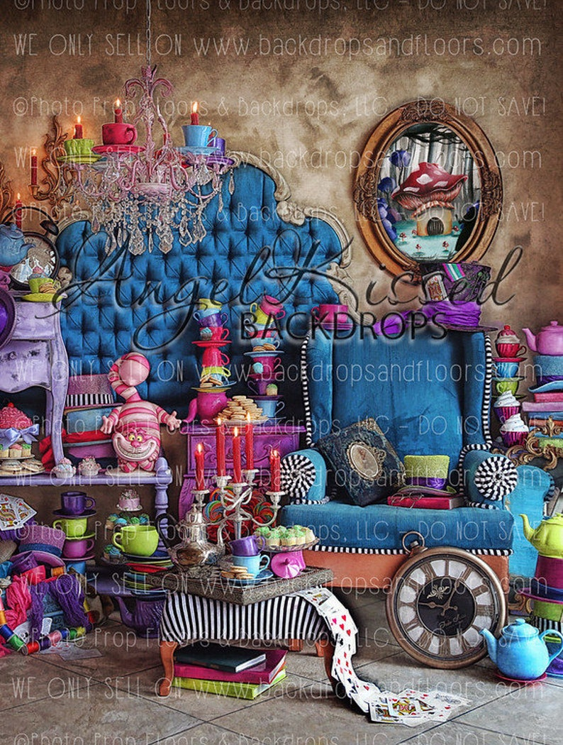 7e6697ff1cb Alice In Wonderland Photography Backdrop Mad Hatter Fairy