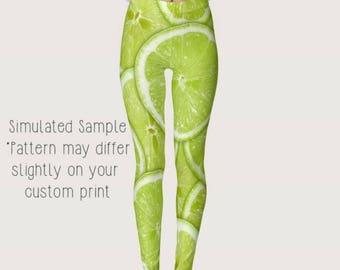 Lime Wedges Leggings, Exercise, Yoga Pants, Bartender, Fruit, Tart, Sweet, Limeade, Key, Green, Acid, Citrus, Zest, Chef, Cook XS-XS Lime 1