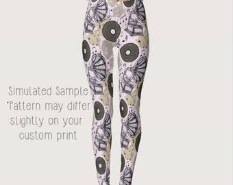 Record Player Leggings, Yoga Pant, Music Notes, Stereo, Records, Phonograph, Vinyl, Classical,  Gramophone, Disc, Turntable - Music 6