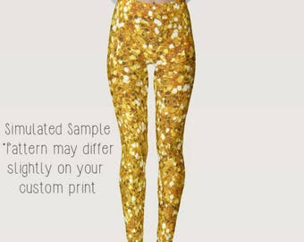 Gold Glitter Print Leggings, Yoga, Workout, Exercise, Disco, Shimmer, Shiny, Geometric, Party, Dancing XS-XL-Sequin4