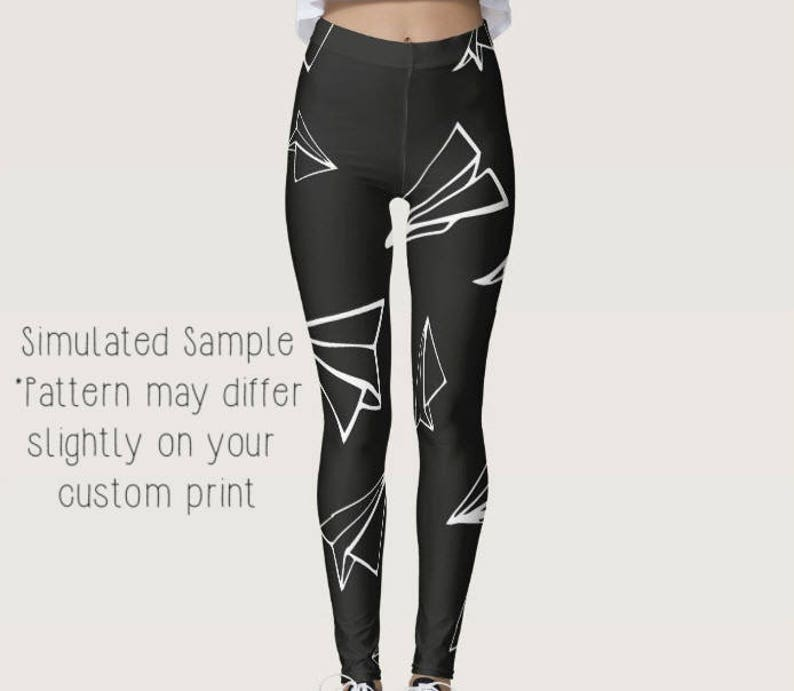 a742d6ac9b2377 Paper Airplane Leggings Custom Yoga Pants Workout | Etsy