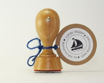 Address Stamp with Sailboat personalized 40 mm, Wedding Stamp, Envelope Stamp, Stamp,