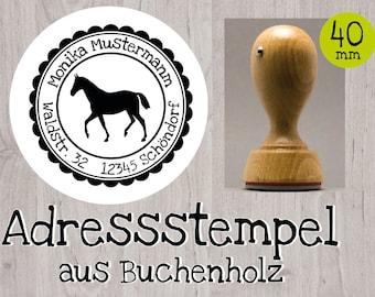 Stempel « PFERDESPORT » Adressenstempel Motiv Name Pferderennen Reiten Reiter