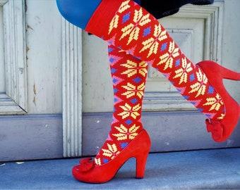 Etno Socks - Yellow stars, Latvian traditional petterns, women's summer socks, cotton socks
