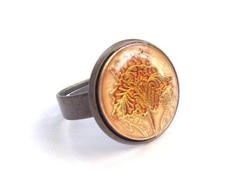 "Shiny vintage button ring ""Luludja"""