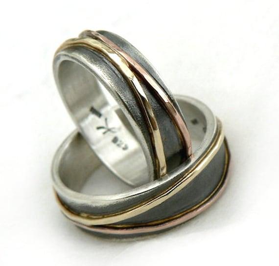 Elegant And Unusual Wedding Ring Set Oxidized Silver Base Etsy