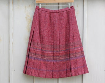 Pink Wool Skirt - Edinburgh Woolen Mill Skirt - Scottish Wool Skirt - Warm Winter Skirt - A Line Pleated Skirt - Striped Skirt - Folk Skirt