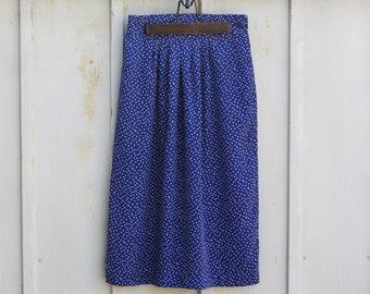 Vintage Polka Dot Skirt - Navy Blue and White Skirt - Retro Midi Skirt - 90s Grunge Skirt - 1990s Skater Skirt - Mod Skirt - A Line Skirt