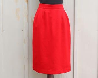 c7561d4048c14 Red Wool Skirt - High Waist Midi Skirt - 80s Does 60s Skirt - Vintage Mod  Skirt - Pin Up Skirt - Rockabilly Skirt - Hipster A Line Skirt