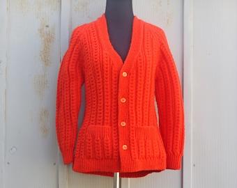 Orange Cable Knit Sweater - Bright Orange Cardigan Sweater - Grandpa Sweater - Handmade 60s Sweater - Mod Sweater - Hipster Sweater - Indie