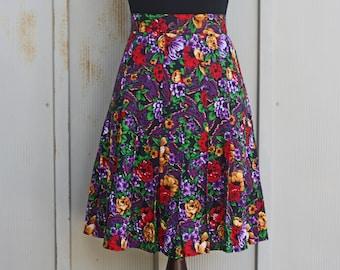 f14ead918e Purple Floral Skirt - Vintage Skater Skirt - 90s Grunge Skirt - 80s Punk  Skirt - Pastel Goth Skirt - 1980s Pleated Mini Skirt - 1990s Skirt