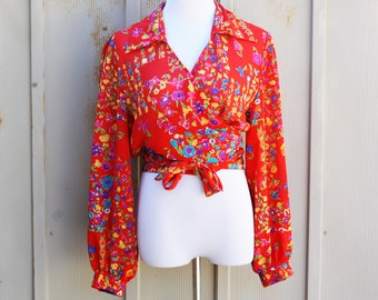 Sheer Red Crop Top - Vintage Wrap Top - Colorful Floral Blouse - Long Sleeve Crop Top - 80s Crop Top - Retro Abstract Top - 1980s Blouse