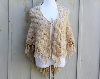 Beige Crochet Shawl - Vintage Shell Stitch Shoulder Wrap - Tan Poncho - 70s Fringe Shawl - Bathing Suit Cover - Boho Shawl - Hippie Poncho