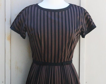 Leslie Fay Swing Dress - Striped 50s Dress - Brown and Black Rockabilly Dress - 1950s Pin Up Dress - Retro Fit and Flare Dress - 60s Mod