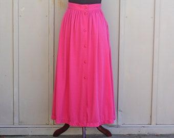 f2e39b1d3f Soft Pink Skirt - Hot Pink Skirt - Vintage Button Down Skirt - Flowy Skirt  - Pastel Goth Skirt - 90s Grunge Skirt - 1990s Skirt - Mod Skirt
