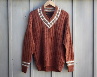 Men's Nordic Sweater - Cable Knit Sweater - V Neck Jumper - Hipster Indie Sweater - 70s Hippie Sweater - Boho Ski Sweater - Bohemian Sweater