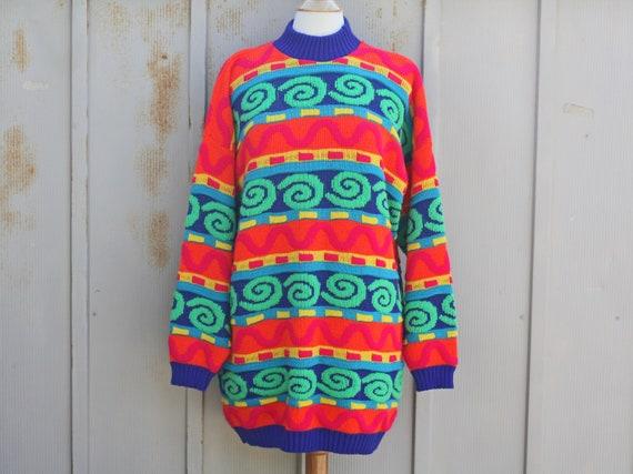 Mens Striped Rainbow Jumper vtg retro 80s 70/'s Indie hippie Mod
