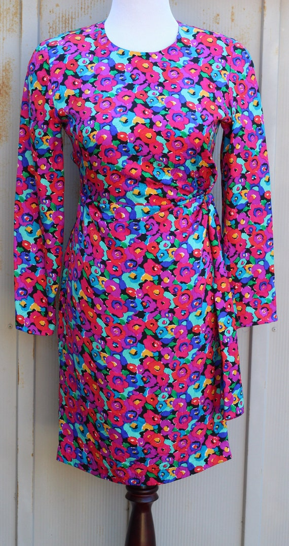 1980s Colorful Silk Dress - Vintage Floral Dress -