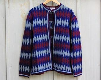 90s Grunge Sweater - Diamond Pattern Wool Cardigan - 1990s Hipster Sweater - Plus Size Grunge Sweater - 90s Cardigan - Indie Sweater - 80s