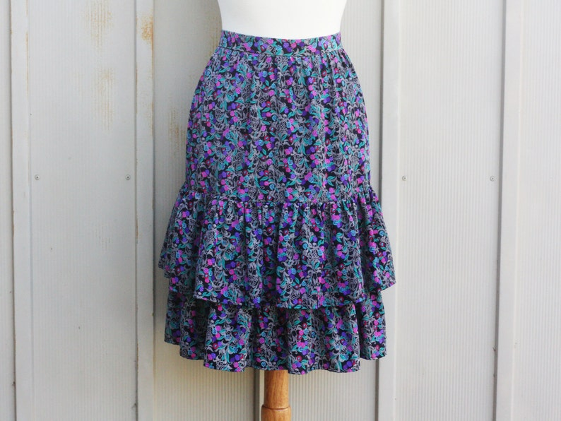 a642b4879 Vintage Ruffle Skirt Prairie Floral Skirt Retro Calico | Etsy