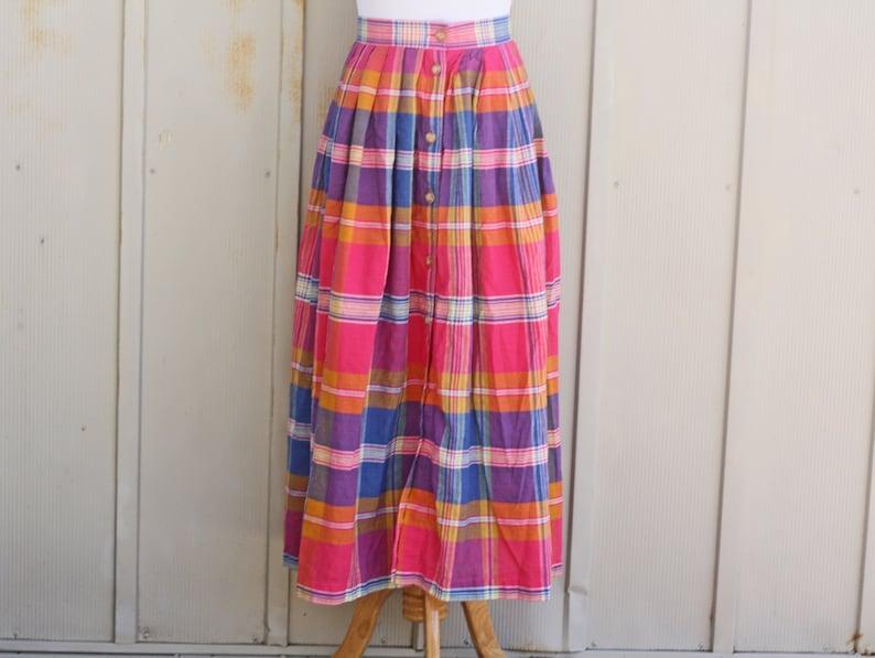 9ba0b79755 Liz Claiborne Pink Plaid Skirt Vintage Button Down Skirt | Etsy