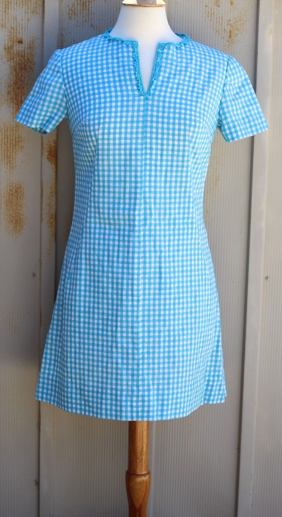 1950s Blue and White Gingham Dress - Vintage Shirt