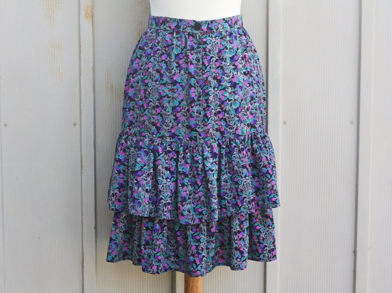 fd26495781 Vintage Ruffle Skirt Prairie Floral Skirt Retro Calico | Etsy