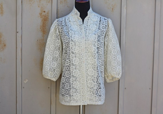 3085e8f45f05e White Lace Blouse Wide Sleeve Top Vintage Sheer Top