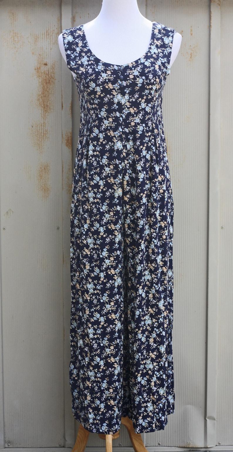 7c6e71c5e1 Blue Floral Romper 90s Grunge Maxi Dress Vintage Pantsuit