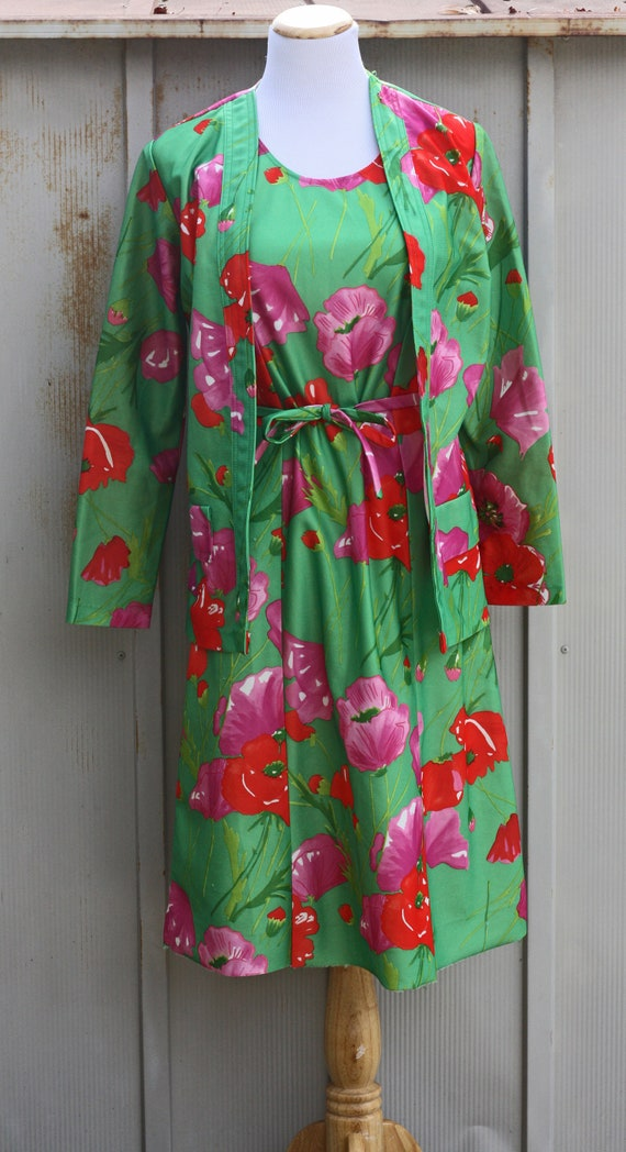 70s Floral Dress and Jacket Set - Green Babydoll S