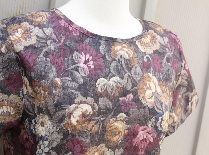 Flower Print Shirt Mod Top Retro Hipster Blouse Indie Short Sleeve Jewel Tone Top Hipster Blouse 80s Top Vintage Floral Blouse