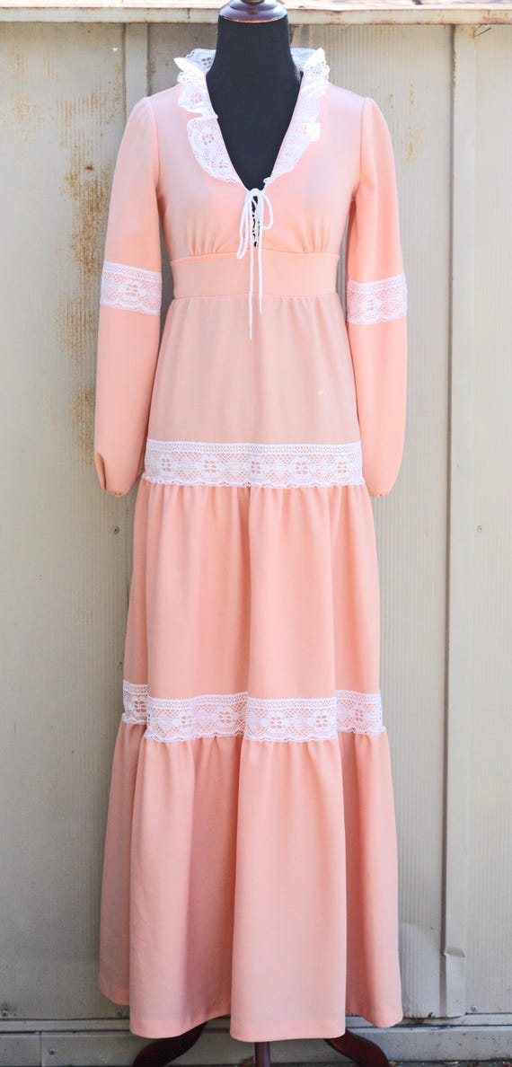 Dress Polyester Maxi Vintage Dress Lace Pink Dress Hippie Long Dress Peach Dress Trim Dress Knit Sleeve Prairie Peasant Tiered wqFanXx6