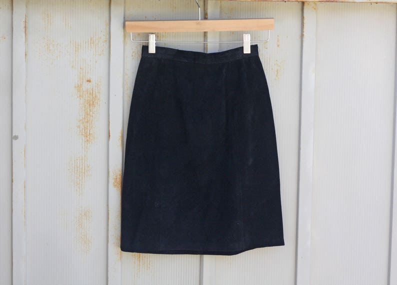 cb3c38553f711b Black Suede Skirt Vintage Leather Skirt 80s Punk Skirt | Etsy