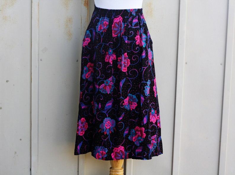 62449dc511 Black and Pink Floral Skirt 90s Grunge Skirt Elastic Waist | Etsy
