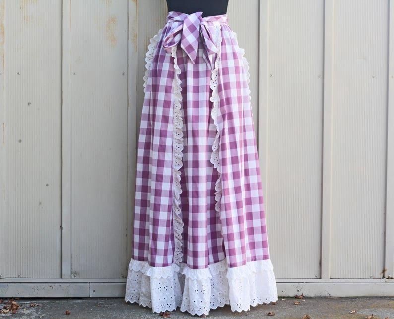 9911fbf8a7 Vintage Gingham Maxi Skirt Lace Trim Skirt Prairie Skirt | Etsy
