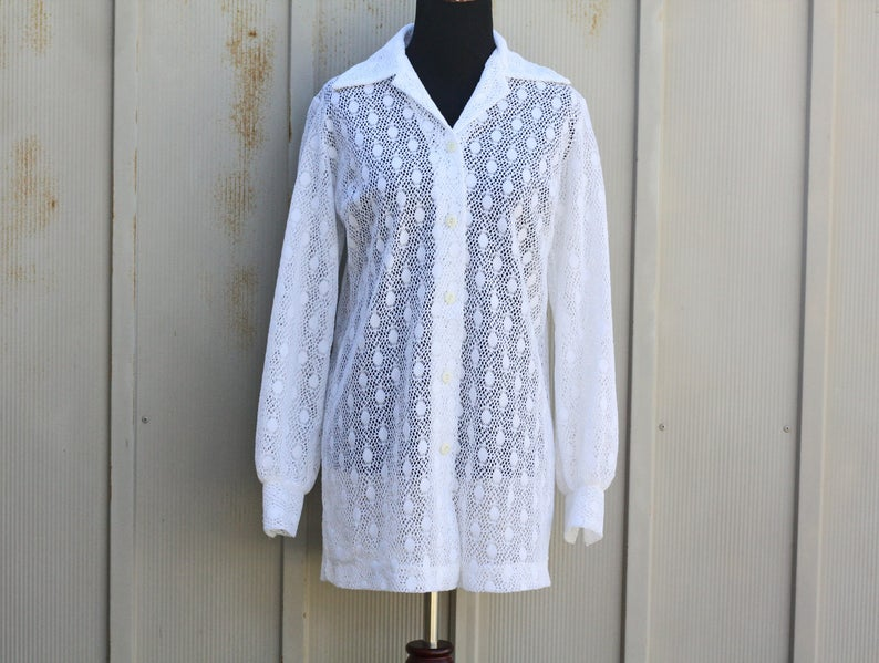 7777f3e861 White Eyelet Top 60s Beach Cover Up Top White Lace Shirt | Etsy