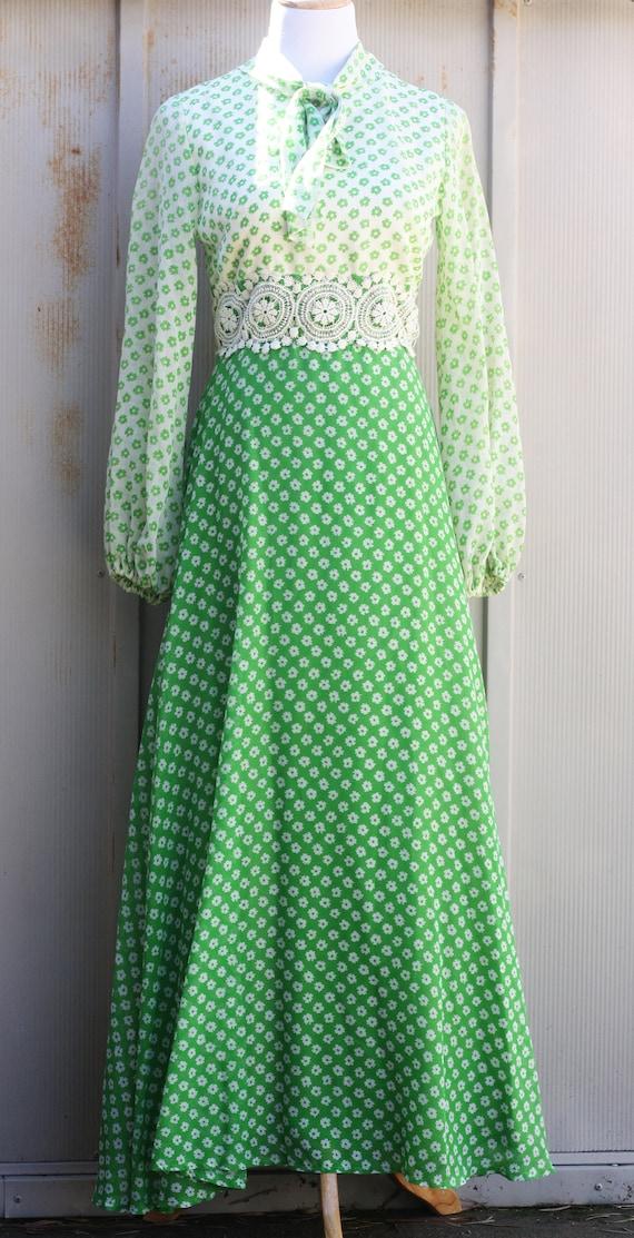 St. Patrick's Day Dress - Green Floral Dress - 60s