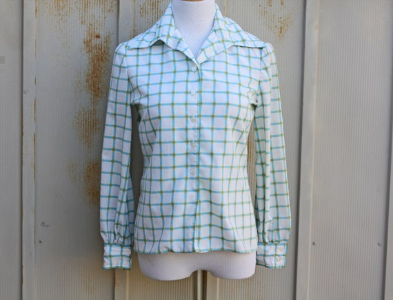 1970s Plaid Blouse - Hipster Blouse - Indie Top -