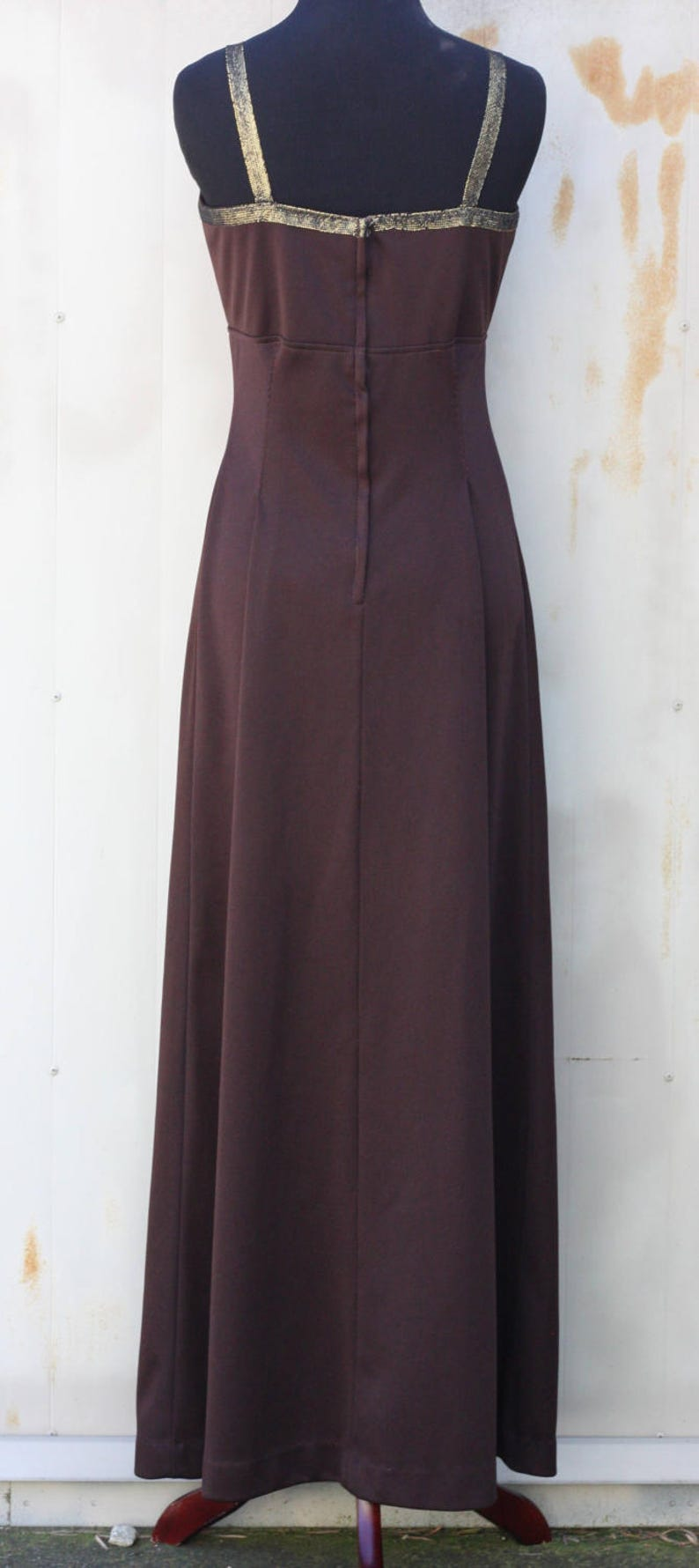Floor Length Polyester Dress Boho Bohemian Dress Vintage Gown Simple 1970s Dress Hippie Dress Indie Dress 70s Brown Maxi Dress