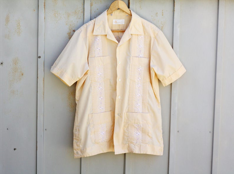 cd439aef Yellow Embroidered Shirt Vintage Guayabera Shirt Mexican | Etsy