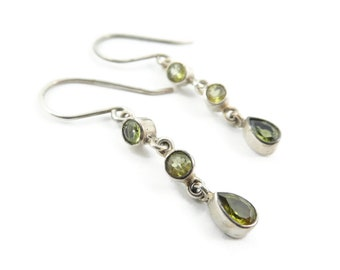 Vintage Sterling, Green Stone Earrings, Dangles, Hooks, Signed