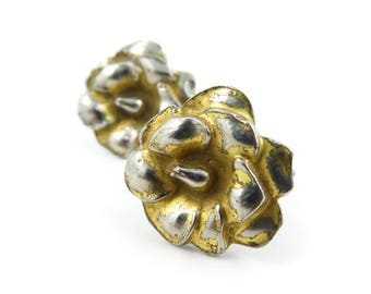 Vintage Sterling, Flower Earrings, Gold Wash, Signed, Screw Backs, STL119