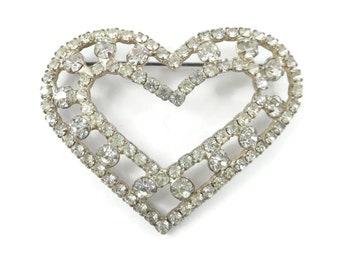 Vintage Rhinestone, Heart Brooch, Silver Tone