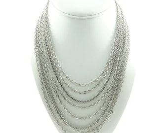 Vintage, Multi Chain Necklace, Silver Tone