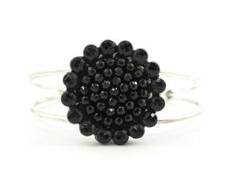 Vintage Black Flower Cuff Bracelet, Silver Tone, STI10