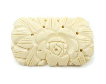 Vintage Carved Bone Brooch, Carved Flower, Rose