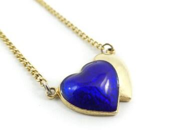 Vintage, Hearts Necklace, Cobalt Blue, Enamel, Gold Tone