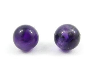 Vintage, Purple Stone, Ball Earrings, Studs, Posts