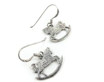 Vintage Rocking Horse Earrings, Sterling Silver, Signed MKV