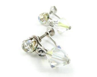 Vintage Coro Crystal Earrings, Bead, Dangles, Iridescent, Screw Backs